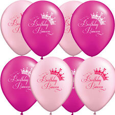 "Uninflated 12"" Birthday Princess Party Balloons Asstd 8 Pack"