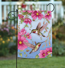 NEW Toland - Hummingbirds with Pink - Colorful Bird Flight Flower Garden Flag