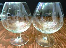 Vintage Set of (2) Etched Clipper Ship Crystal Brandy Snifters Glasses Excellent
