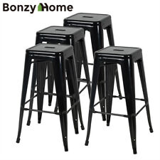"4 Pices 30"" Bar Stools Metal Stackable Kitchen Industrial Counter Stool Black"