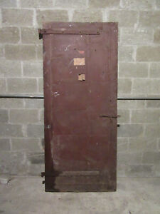 ~ ANTIQUE STEEL CLAD INDUSTRIAL FIRE DOOR ~ 35.75 x 82.7 ~ ARCHITECTURAL SALVAGE