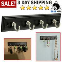 Wall Mounted Key Rack Hanger Holder 4 Hook Chain Coat Hat Storage Organizer Home
