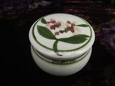 Vintage Pottery bijou ou coiffeuse couvercle pot peint à la main Artiste Signé