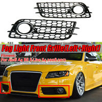 HONEYCOMB Fog Light Grille Grill W/ Chrome Ring For Audi A4 S-Line S4 2008-2012