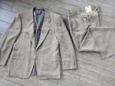 NEW vintage HICKEY FREEMAN boardroom suit 42R 36w unhemmed 2PC tan wool NWT