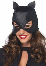 Cat Woman Mask & Hood Black Faux Leather Pull On Eared Costume Accessory One Sz