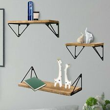 ALEKO Rustic Wood Triangular Wall Mount Storage Floating Shelves - Set of 3