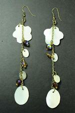 LADIES BRONZE WHITE SEA SHELL/STONES OCEAN THEME EARRINGS UNIQUE STATEMENT(ZX4)