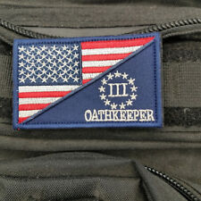 USA American Flag/Three Percent Oathkeeper Militray Tactical Morale Hook Patch-P