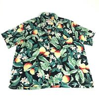 Vintage Paradise Found Mens XL Hawaiian Shirt Black Floral Fruit Made In Hawaii