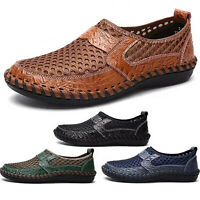 Men Leather Driving Casual Boat Shoes Moccasin Slip On Summer Loafers Size 7-12