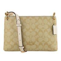 NWT COACH Mia Shoulder Bag Crossbody Classic Canvas Logo Khaki Chalk White 76646