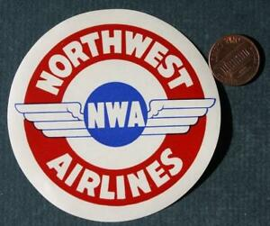 1940-50s Era Eagan Minnesota Northwest Airlines RWB Winged logo decal-VINTAGE!