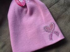 Fight for the Cure BREAST CANCER BEANIE HAT W/Bling Light Pink NEW