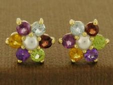 E058 Real 9ct Gold Natural Multi-Gem,Pearl Blossom Stud Earrings Amethyst,Garnet