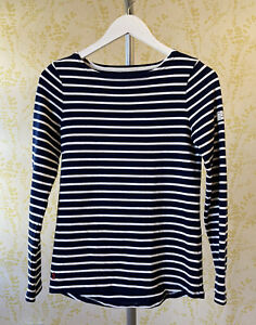 JOULES premium grade navy blue & white striped everyday nautical HARBOUR top 6