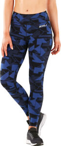 2XU Fitness Mid Rise Womens Compression Tights Blue Graphic Print Gym Tight XS-L