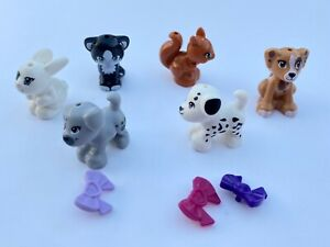 LEGO MINI-FIGURE ANIMALS X 6 - Dogs, Cats, Squirrel, Rabbit & 3 Accessories VGC!