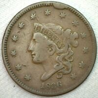 1836 Coronet Head Large Cent US Copper 1c Type Coin Fine One Cent K51