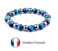 Bracelet Homme Femme Perles Pierres Naturelles Oeil du Tigre Couleur Bleu