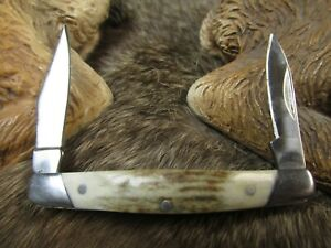 GERBER.2007 2 BLADED (Mini)FOLDING POCKET KNIFE w STAG DEER ANTLER HANDLE COVERS