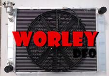 For HOLDEN Commodore Radiator +16 Inch Fan VG VL VN VP VR VS V8 3 row Aluminum