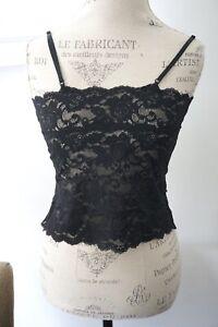 Hanky Panky Black Lace Short Camisole Sleepwear Size Large