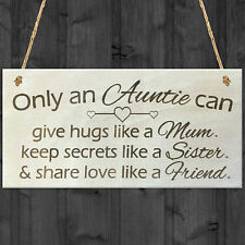 Only An Auntie Wooden Hanging Plaque Shabby Chic Love Hearts Sign Aunt Gift