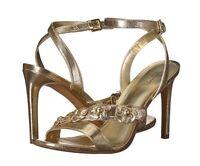 NIB! Michael Kors Tricia Sandal Heels Pale Gold Metallic Leather Sz 9.5 Org $140
