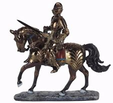 "Medieval Knight on Horse Gold Armor Sword in Hand Figurine Statue 9""L New"
