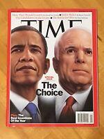 Time Magazine John McCain Barack Obama Joe Biden November 2008 Double Issue New!