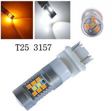 2x Super Bright Dual Color White Amber LED Turn Signal Lights Bulbs Fit 3457 T25