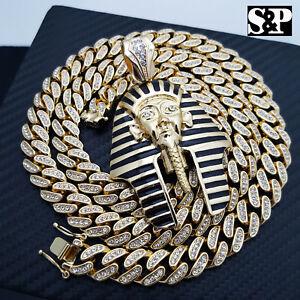 "Hip Hop Egyptian Pharaoh Pendant & 12mm 30"" Full Iced Cuban Link Chain Necklace"