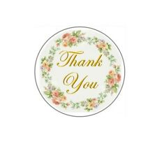 60 Thank You with Flower Ring #7 ENVELOPE SEALS LABELS STICKERS CELEBRATION 2""