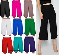 Ladies Women's Elasticated Stretch Wide Leg Culottes Shorts Plus Size 8-26