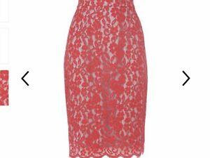 L.K.Bennett Pink Ward Lace Woman's Skirt Size 14 BNWT
