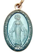 "Mrt Blue Enamel Metal Miraculous Mary Medal Catholic Pendant Charm 7/8"" Italy"
