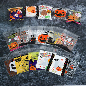 100 Halloween Cellophane Cello Treat Bags Sweet Biscuit Cookie Party Favour Gift