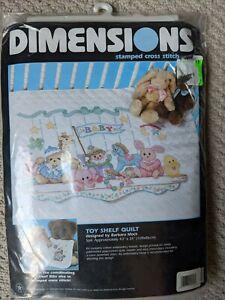 "Dimensions ""TOY SHELF QUILT"" Stamped Cross Stitch Kit #3176 Crib Quilt 43""x34"""