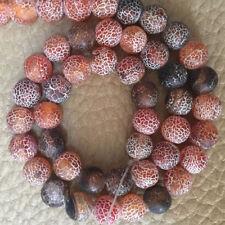 "8 mm brown Dream Fire Dragon Veins Agate Gems Loose Beads Strands 15"""