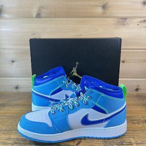 New Nike Air Jordan 1 Mid SE GS Racer Blue Powder Sprite Youth Size 7 DA8010-400