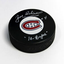 Jean Beliveau Montreal Canadiens Autographed Puck with 10 Cups Note