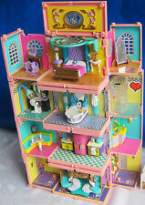 Mini Polly Pocket Puppenhaus Stapelvilla 4 Zimmer Pavillon Pool Dach Figuren