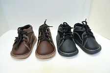 Luna Shoes baby boys' Leather Casual Boots lace up Black Brown infant size 2-6