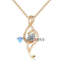 Fashion Musical Note Necklace 18K Rose Gold Plated Use Swarovski Crystal Jewelry