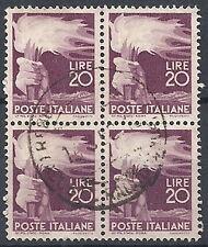 1945-48 ITALIA USATO DEMOCRATICA 20 LIRE QUARTINA - RR12033