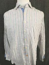 Thomas Dean Striped 100% Linen Men's BF LS Casual Shirt L Flip Cuff EUC