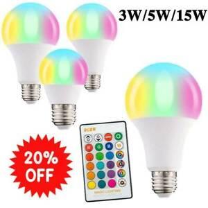 E27 16 Colour Changing RGB LED Light Bulb Remote Control Party 15W Disco 5W X7J3