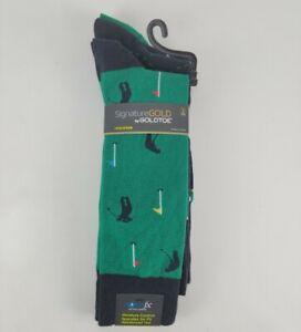 Signature Gold By Gold Toe Golf Theme Socks Polyspun Dry Cool Comfort 3 Pair L