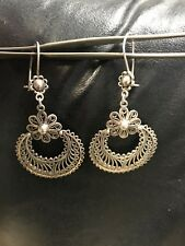 "Sterling Sulver Modernist Drop/Dangle Earrings 2"" Length"